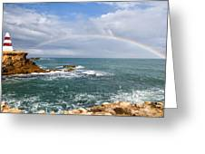 Rainbow Over Cape Dombey Obelisk Greeting Card