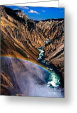Rainbow At The Grand Canyon Yellowstone National Park Greeting Card
