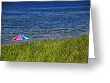 Rainbow Beach Umbrella Greeting Card