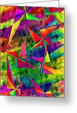 Rainbow Bliss - Pin Wheels - Painterly - Abstract - V Greeting Card