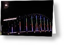Rainbow Bridge And Super Moon Greeting Card