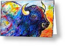 Rainbow Buffalo Greeting Card by M C Sturman