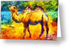 Rainbow Camel Greeting Card by Pixel Chimp