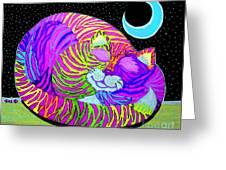 Rainbow Cat Blue Moon Greeting Card