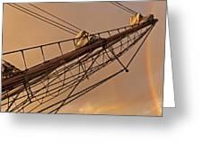 Tall Ship Meets Rainbow Greeting Card