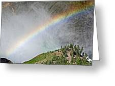 Rainbow From Spray Of Lower Yellowstone Falls Against Yellowstone Canyon Wall-wyoming  Greeting Card