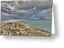 Rainbow In Storm Clouds Pointe De Saint Cast  Greeting Card