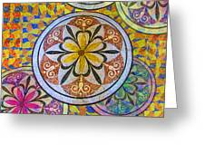 Rainbow Mosaic Circles And Flowers Greeting Card