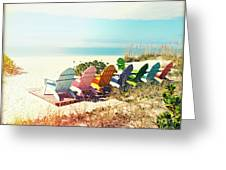 Rainbow Of Adirondack Chairs IIII Greeting Card