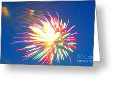 Rainbow Of Color Abstract Fireworks Greeting Card