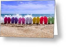 Rainbow Of Flip Flops On The Beach Greeting Card