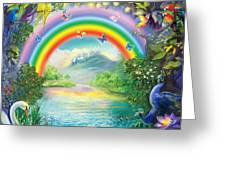 Backgraund Rainbow On Varshana  Greeting Card by Lila Shravani