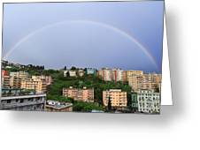rainbow over Genova Greeting Card