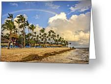 Rainbow Over The Beach Greeting Card