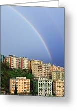 Rainbow Over The Town Greeting Card