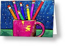 Rainbow Pencils In A Cup Greeting Card