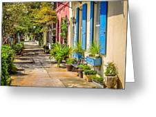 Rainbow Row Sidewalk Greeting Card