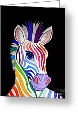 Rainbow Striped Zebra 2 Greeting Card