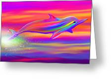Rainbow Tide Dolphin Greeting Card