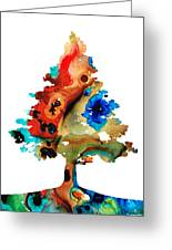 Rainbow Tree 2 - Colorful Abstract Tree Landscape Art Greeting Card by Sharon Cummings