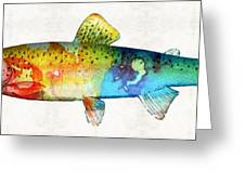 Rainbow Trout Art By Sharon Cummings Greeting Card