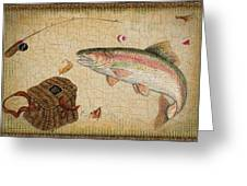 Rainbow Trout-basket Weave Greeting Card