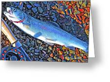 Rainbow Trout Dry Fly Reel Poster Image Greeting Card by A Gurmankin