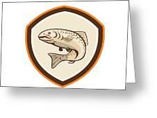 Rainbow Trout Jumping Cartoon Shield Greeting Card by Aloysius Patrimonio