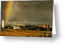 Rainbow Over The Tower Greeting Card