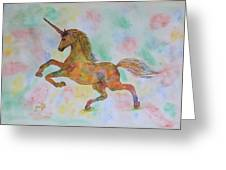 Rainbow Unicorn In My Garden Original Watercolor Painting Greeting Card