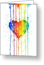 Rainbow Watercolor Heart Greeting Card