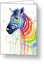 Rainbow Zebra - Ode To Fruit Stripes Greeting Card