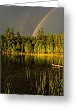 Rainbows Over Otter Lake Greeting Card by Thomas Pettengill