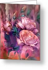 Raindrops On Peach Roses Greeting Card