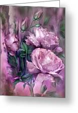Raindrops On Pink Roses Greeting Card