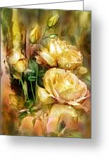 Raindrops On Yellow Roses Greeting Card