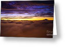 Rainier Above The Clouds Greeting Card