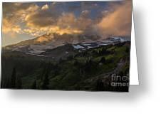 Rainier Evening Skies Drama Greeting Card