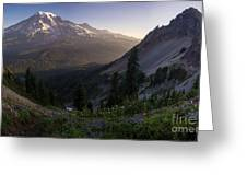 Rainier In The Saddle Greeting Card