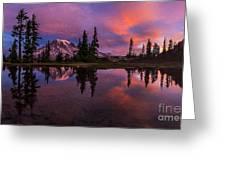 Rainier Soaring Sunrise Reflection Greeting Card