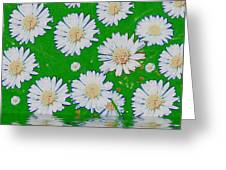 Raining White Flower Power Greeting Card