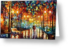 Rain's Rustle 2 - Palette Knife Oil Painting On Canvas By Leonid Afremov Greeting Card