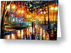 Rain's Rustle - Palette Knife Oil Painting On Canvas By Leonid Afremov Greeting Card