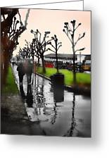 Rainy At The Pier Greeting Card