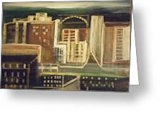Rainy City Evening Greeting Card