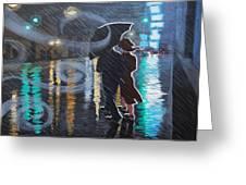 Rainy City Street Greeting Card