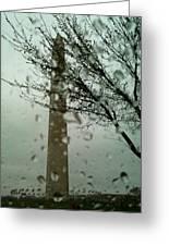 Rainy Day At The Washington Monument Greeting Card