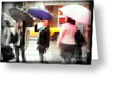Rainy Day In The City - Blue Pink And Polka Dots Greeting Card