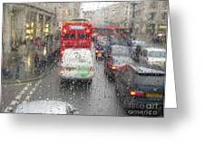 Rainy Day London Traffic Greeting Card
