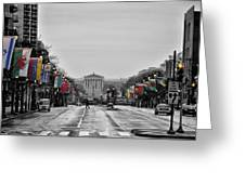 Rainy Day On The Parkway Greeting Card